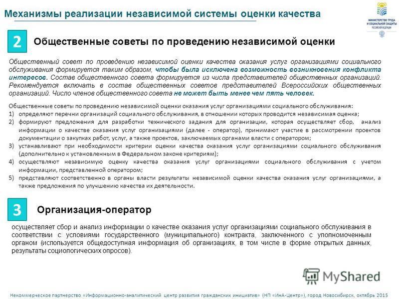 Некоммерческое партнерство « Информационно - аналитический центр развития гражданских инициатив » ( НП « ИнА - Центр »), город Новосибирск, октябрь 2015 Механизмы реализации независимой системы оценки качества 2 Общественные советы по проведению неза