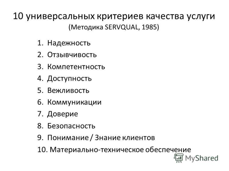 Некоммерческое партнерство « Информационно - аналитический центр развития гражданских инициатив » ( НП « ИнА - Центр »), город Новосибирск, октябрь 2015 10 универсальных критериев качества услуги (Методика SERVQUAL, 1985) 1. Надежность 2. Отзывчивост