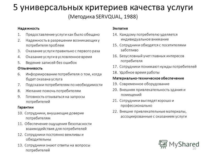 Некоммерческое партнерство « Информационно - аналитический центр развития гражданских инициатив » ( НП « ИнА - Центр »), город Новосибирск, октябрь 2015 5 универсальных критериев качества услуги (Методика SERVQUAL, 1988) Надежность 1. Предоставление