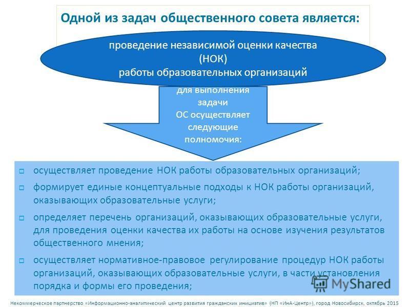 Некоммерческое партнерство « Информационно - аналитический центр развития гражданских инициатив » ( НП « ИнА - Центр »), город Новосибирск, октябрь 2015 Одной из задач общественного совета является : для выполнения задачи ОС осуществляет следующие по