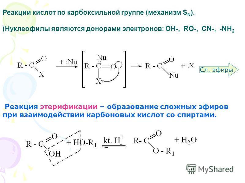 Реакция этерификации – образование сложных эфиров при взаимодействии карбоновых кислот со спиртами. Сл. эфиры Реакции кислот по карбоксильной группе (механизм S N ). (Нуклеофилы являются донорами электронов: OH-, RO-, CN-, -NH 2