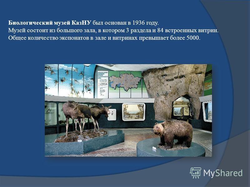 Биологический музей КазНУ был основан в 1936 году. Музей состоит из большого зала, в котором 3 раздела и 84 встроенных витрин. Общее количество экспонатов в зале и витринах превышает более 5000.