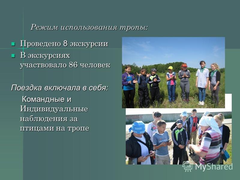 Режим использования тропы: Проведено 8 экскурсии Проведено 8 экскурсии В экскурсиях участвовало 86 человек В экскурсиях участвовало 86 человек Поездка включала в себя: Командные и Индивидуальные наблюдения за птицами на тропе Командные и Индивидуальн