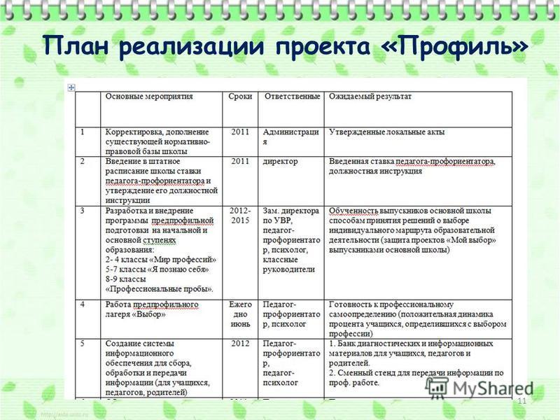 План реализации проекта «Профиль» 11