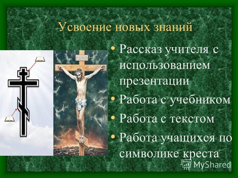 Усвоение новых знаний Рассказ учителя с использованием презентации Работа с учебником Работа с текстом Работа учащихся по символике креста