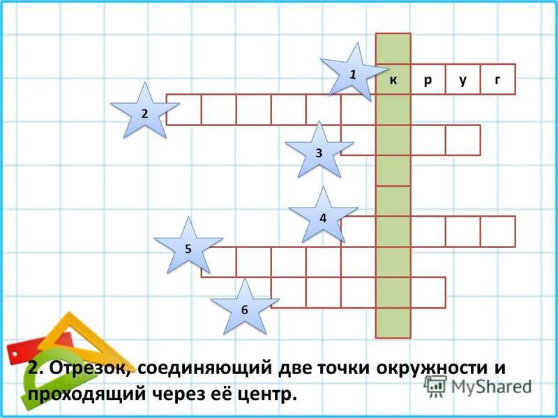 гуру 1 1 2 2 3 3 4 4 5 5 6 6 2. Отрезок, соединяющий две точки окружности и проходящий через её центр.