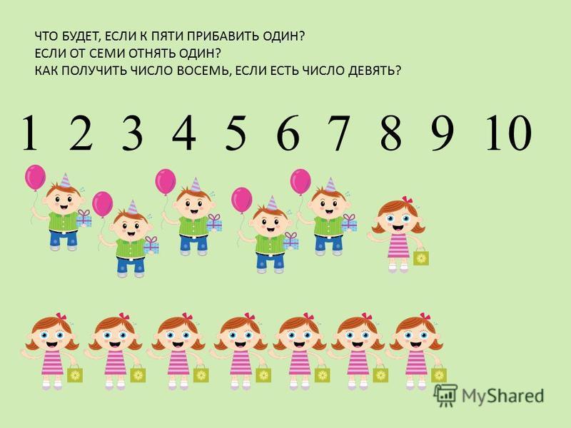 ЧТО БУДЕТ, ЕСЛИ К ПЯТИ ПРИБАВИТЬ ОДИН? ЕСЛИ ОТ СЕМИ ОТНЯТЬ ОДИН? КАК ПОЛУЧИТЬ ЧИСЛО ВОСЕМЬ, ЕСЛИ ЕСТЬ ЧИСЛО ДЕВЯТЬ? 1 2 3 4 5 6 7 8 9 10