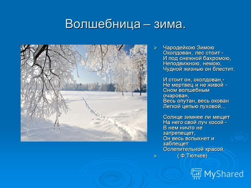 Волшебница – зима. Чародейкою Зимою Околдован, лес стоит - И под снежной бахромою, Неподвижною, немою, Чудной жизнью он блестит. И стоит он, околдован,- Не мертвец и не живой - Сном волшебным очарован, Весь опутан, весь окован Легкой цепью пуховой...