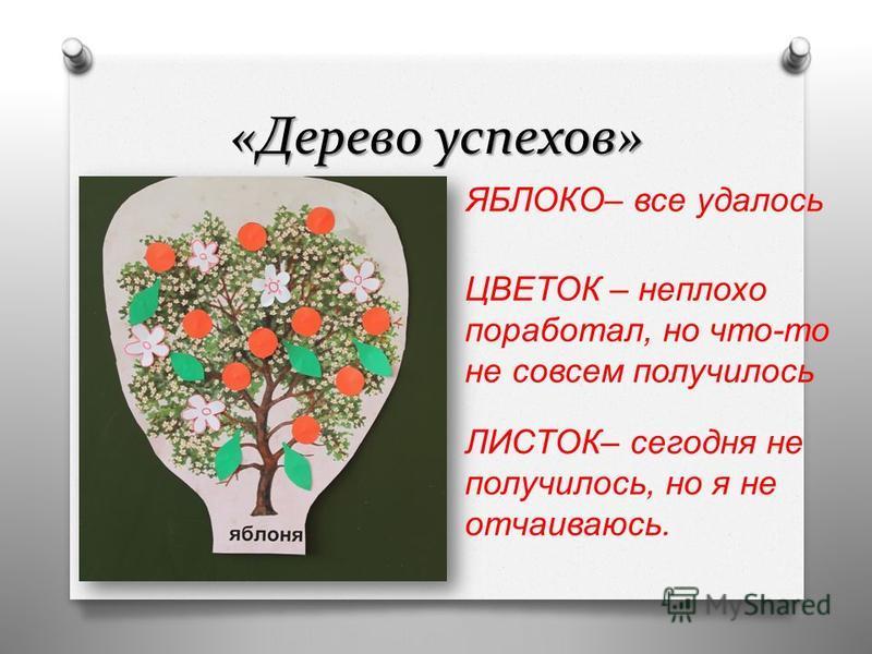 «Дерево успехов» ЯБЛОКО – все удалось ЦВЕТОК – неплохо поработал, но что - то не совсем получилось ЛИСТОК – сегодня не получилось, но я не отчаиваюсь.