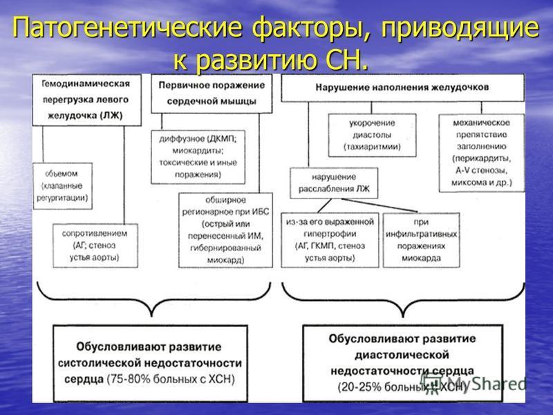 Патогенетические факторы, приводящие к развитию СН. Патогенетические факторы, приводящие к развитию СН.