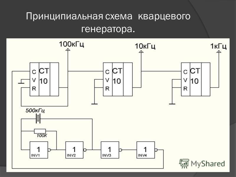 Принципиальная схема кварцевого генератора.