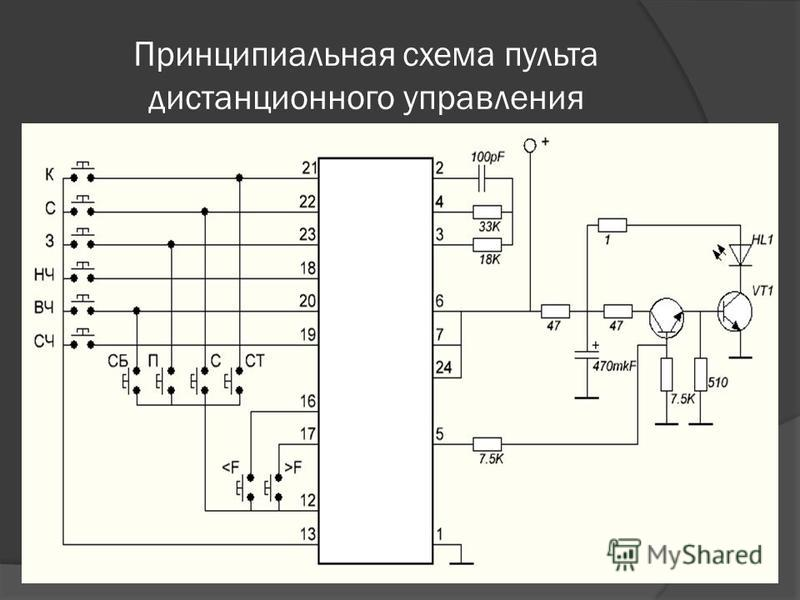 Принципиальная схема пульта дистанционного управления