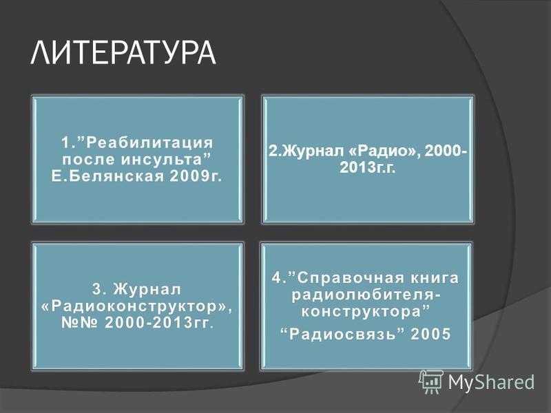 ЛИТЕРАТУРА 2. Журнал «Радио», 2000- 2013 г.г.