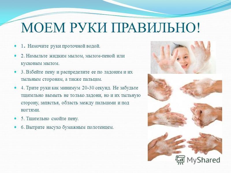 МОЕМ РУКИ ПРАВИЛЬНО! 1. Намочите руки проточной водой. 2. Намыльте жидким мылом, мылом-пеной или кусковым мылом. 3. Взбейте пену и распределите ее по ладоням и их тыльным сторонам, а также пальцам. 4. Трите руки как минимум 20-30 секунд. Не забудьте
