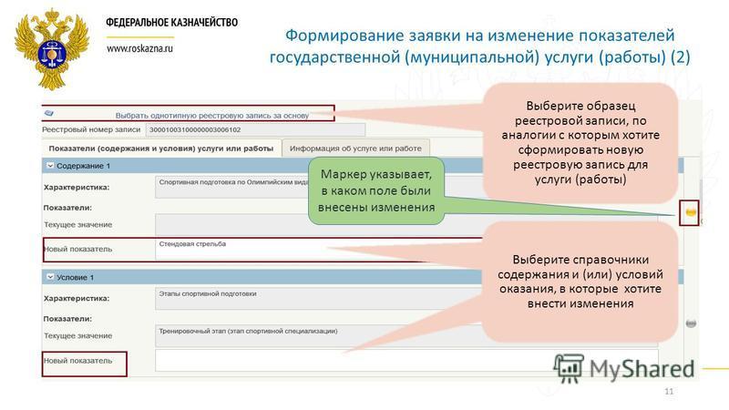 11 Формирование заявки на изменение показателей государственной (муниципальной) услуги (работы) (2) Выберите образец реестровой записи, по аналогии с которым хотите сформировать новую реестровую запись для услуги (работы) Выберите справочники содержа