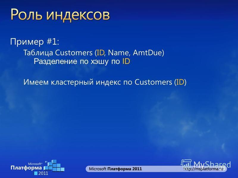 Пример #1: Таблица Customers (ID, Name, AmtDue) Разделение по хэшу по ID Имеем кластерный индекс по Customers (ID) 23