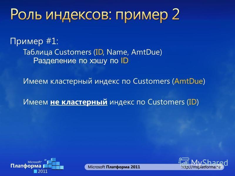 Пример #1: Таблица Customers (ID, Name, AmtDue) Разделение по хэшу по ID Имеем кластерный индекс по Customers (AmtDue) Имеем не кластерный индекс по Customers (ID) 25