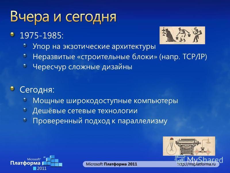 1975-1985: Упор на экзотические архитектуры Неразвитые «строительные блоки» (напр. TCP/IP) Чересчур сложные дизайны Сегодня: Мощные широкодоступные компьютеры Дешёвые сетевые технологии Проверенный подход к параллелизму