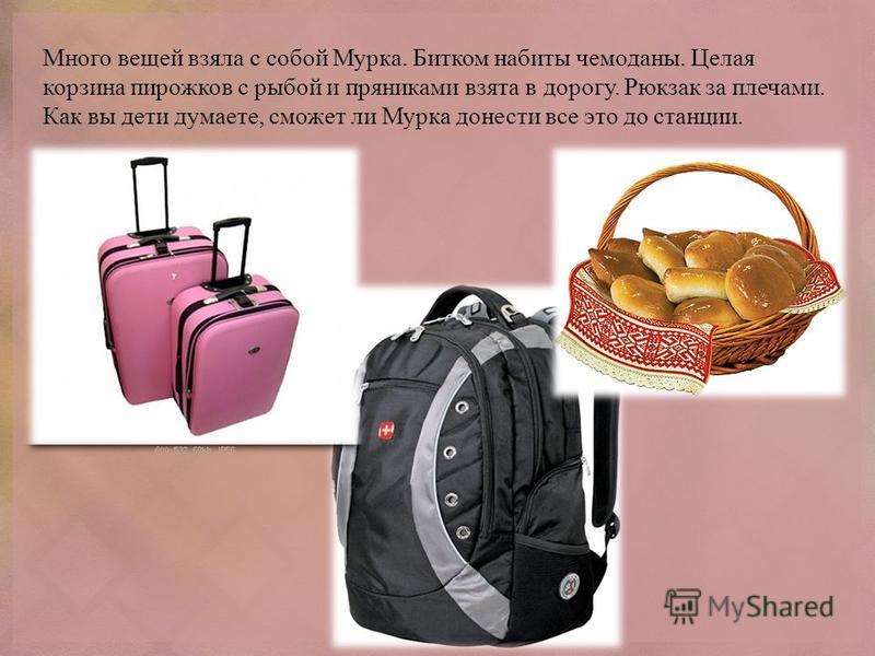 Много вещей взяла с собой Мурка. Битком набиты чемоданы. Целая корзина пирожков с рыбой и пряниками взята в дорогу. Рюкзак за плечами. Как вы дети думаете, сможет ли Мурка донести все это до станции.