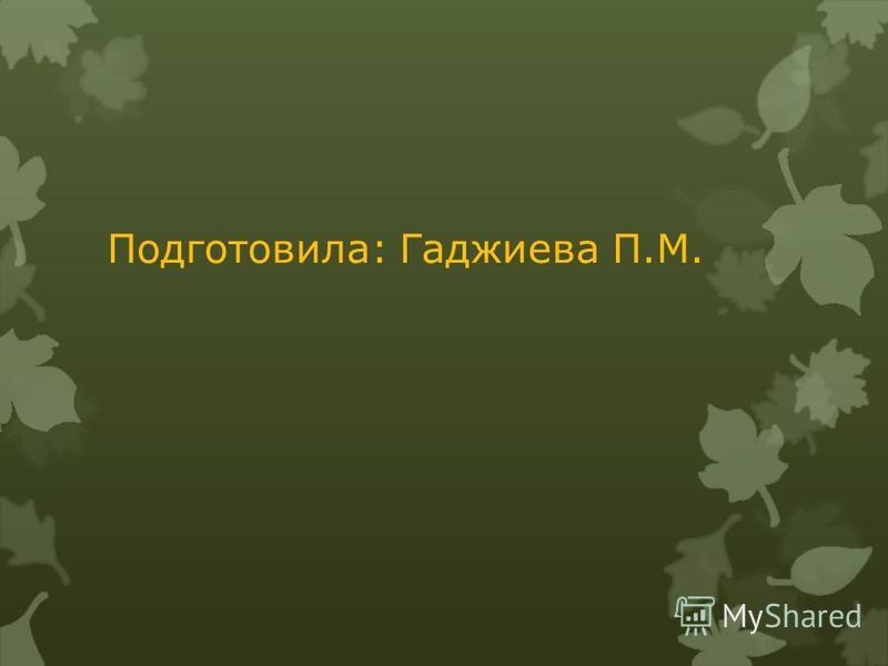 Подготовила: Гаджиева П.М.