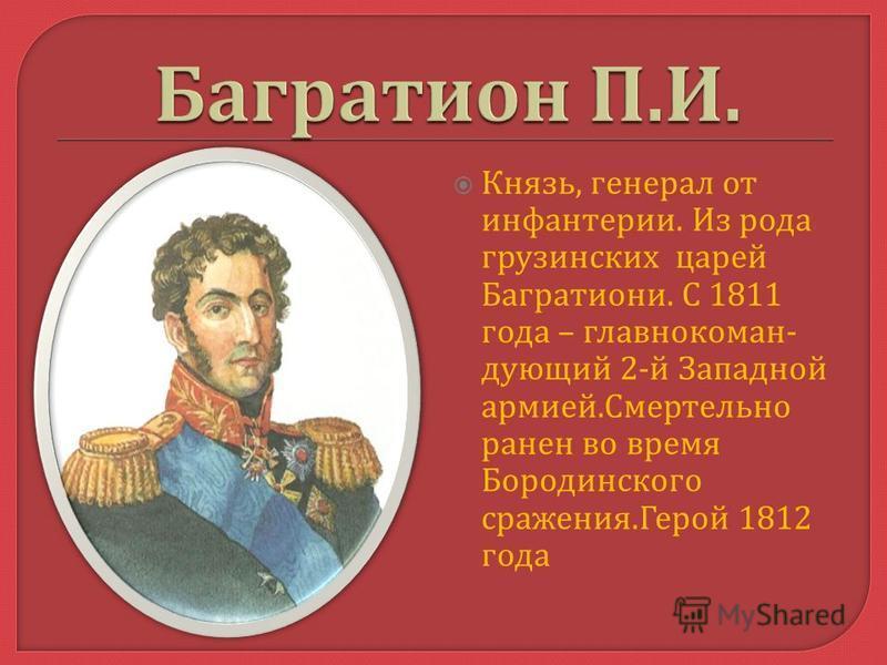 Князь, генерал от инфантерии. Из рода грузинских царей Багратиони. С 1811 года – главнокомандующий 2- й Западной армией. Смертельно ранен во время Бородинского сражения. Герой 1812 года