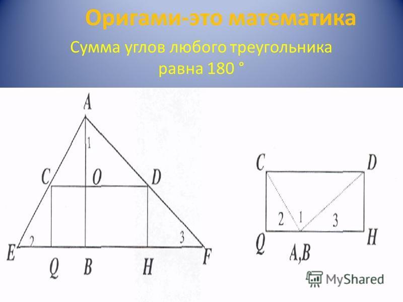Сумма углов любого треугольника равна 180 ° Оригами-это математика