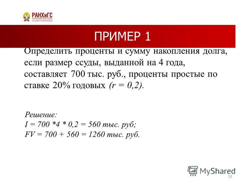 ПРИМЕР 1 Определить проценты и сумму накопления долга, если размер ссуды, выданной на 4 года, составляет 700 тыс. руб., проценты простые по ставке 20% годовых (r = 0,2). 15 Решение: I = 700 *4 * 0,2 = 560 тыс. руб; FV = 700 + 560 = 1260 тыс. руб.