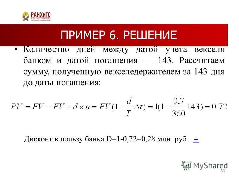ПРИМЕР 6. РЕШЕНИЕ Количество дней между датой учета векселя банком и датой погашения 143. Рассчитаем сумму, полученную векселедержателем за 143 дня до даты погашения: 36 Дисконт в пользу банка D=1-0,72=0,28 млн. руб.