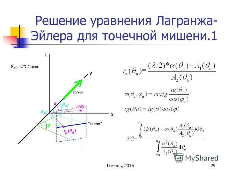 29 Решение уравнения Лагранжа- Эйлера для точечной мишени.1 Гомель, 2015