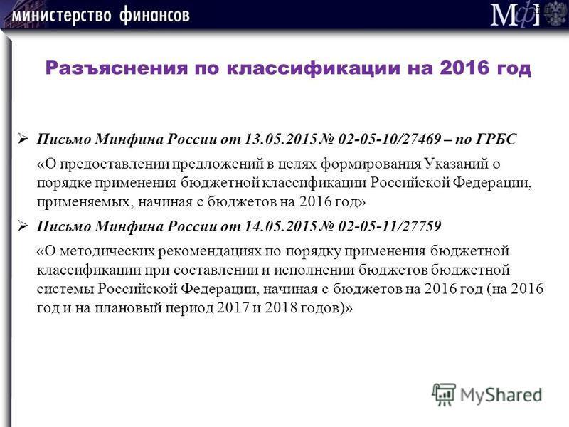 Разъяснения по классификации на 2016 год Письмо Минфина России от 13.05.2015 02-05-10/27469 – по ГРБС «О предоставлении предложений в целях формирования Указаний о порядке применения бюджетной классификации Российской Федерации, применяемых, начиная