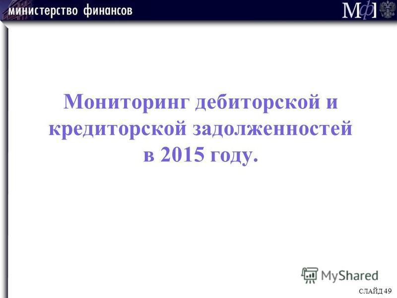 Мониторинг дебиторской и кредиторской задолженностей в 2015 году. СЛАЙД 49