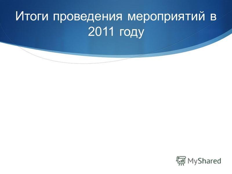 Итоги проведения мероприятий в 2011 году
