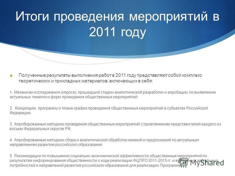 Итоги проведения мероприятий в 2011 году Полученные результаты выполнения работ в 2011 году представляют собой комплекс теоретических и прикладных материалов, включающих в себя: 1. Механизм исследования (опроса), прошедший стадии аналитической разраб