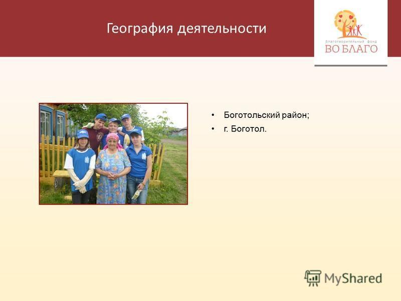 География деятельности Боготольский район; г. Боготол.
