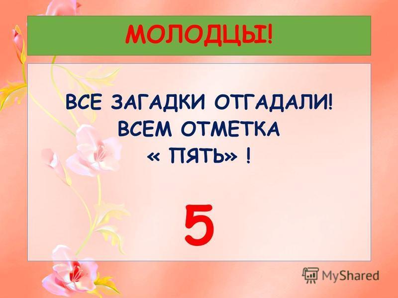 МОЛОДЦЫ! ВСЕ ЗАГАДКИ ОТГАДАЛИ! ВСЕМ ОТМЕТКА « ПЯТЬ» ! 5