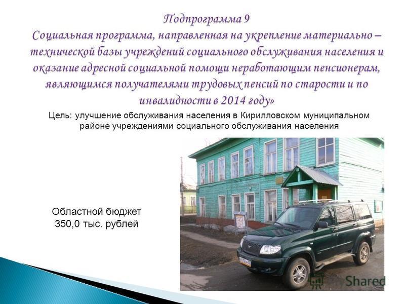 Областной бюджет 350,0 тыс. рублей Цель: улучшение обслуживания населения в Кирилловском муниципальном районе учреждениями социального обслуживания населения