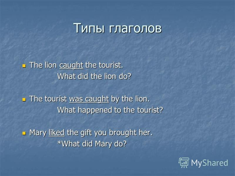 Типы глаголов The lion caught the tourist. The lion caught the tourist. What did the lion do? The tourist was caught by the lion. The tourist was caught by the lion. What happened to the tourist? Mary liked the gift you brought her. Mary liked the gi