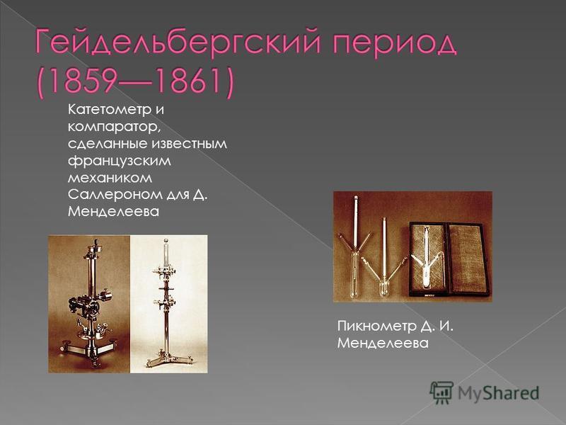 Катетометр и компаратор, сделанные известным французским механиком Саллероном для Д. Менделеева Пикнометр Д. И. Менделеева