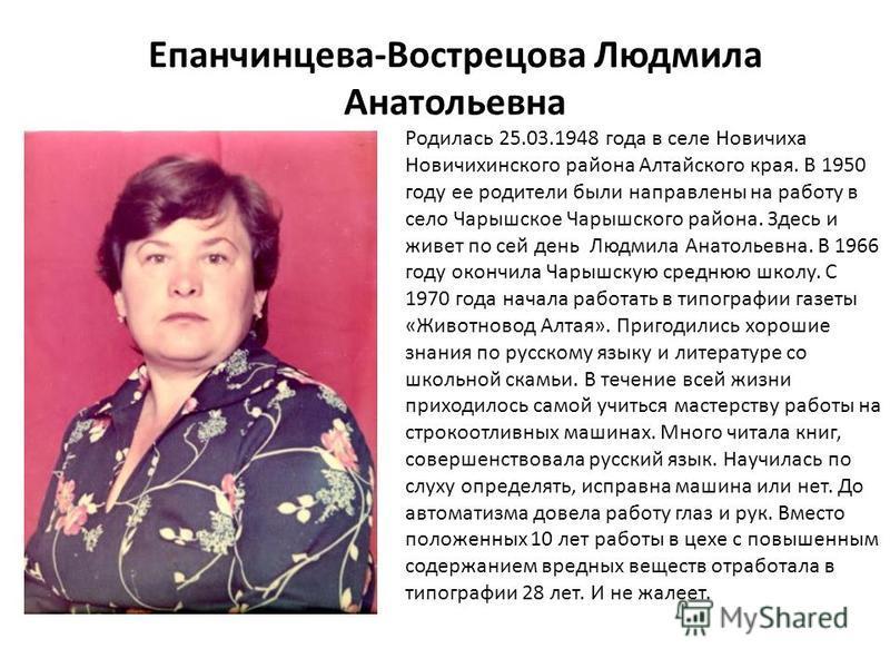 Родилась 25.03.1948 года в селе Новичиха Новичихинского района Алтайского края. В 1950 году ее родители были направлены на работу в село Чарышское Чарышского района. Здесь и живет по сей день Людмила Анатольевна. В 1966 году окончила Чарышскую средню