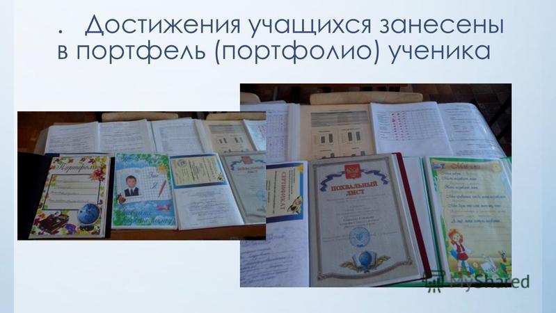 . Достижения учащихся занесены в портфель (портфолио) ученика