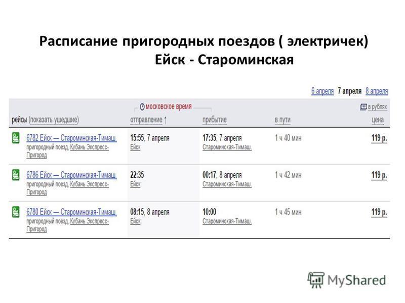 Расписание пригородных поездов ( электричек) Ейск - Староминская