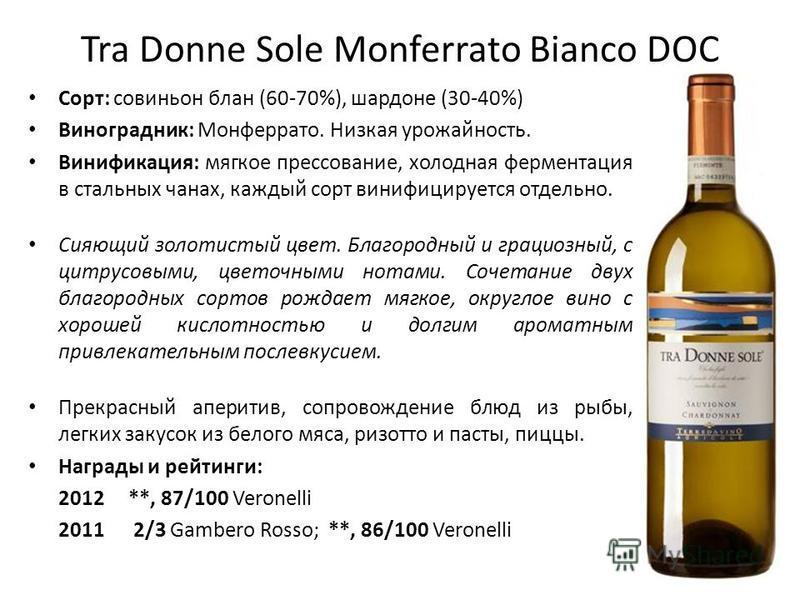 Tra Donne Sole Monferrato Bianco DOC Сорт: совиньон блан (60-70%), шардоне (30-40%) Виноградник: Монферрато. Низкая урожайность. Винификация: мягкое прессование, холодная ферментация в стальных чанах, каждый сорт винифицируется отдельно. Сияющий золо