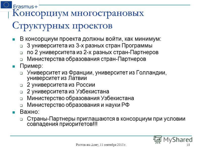Ростов-на-Дону, 11 сентября 2015 г. 18 Консорциум многострановых Структурных проектов В консорциум проекта должны войти, как минимум: В консорциум проекта должны войти, как минимум: 3 университета из 3-х разных стран Программы 3 университета из 3-х р