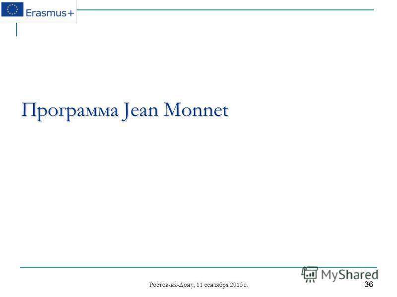 Ростов-на-Дону, 11 сентября 2015 г. 36 36 Программа Jean Monnet