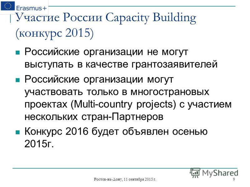 Ростов-на-Дону, 11 сентября 2015 г. 9 Участие России Capacity Building (конкурс 2015) Российские организации не могут выступать в качестве грантозаявителей Российские организации могут участвовать только в многострановых проектах (Multi-country proje