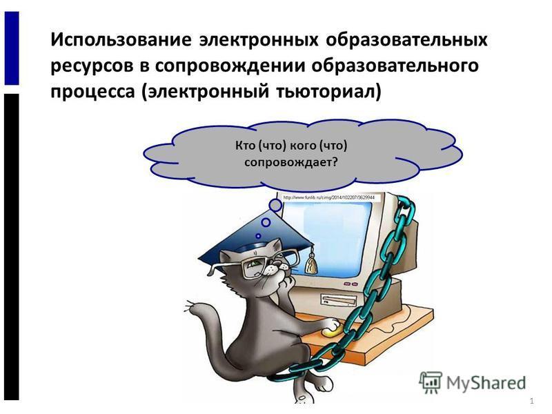 1 Использование электронных образовательных ресурсов в сопровождении образовательного процесса (электронный тьюториал) Кто (что) кого (что) сопровождает?