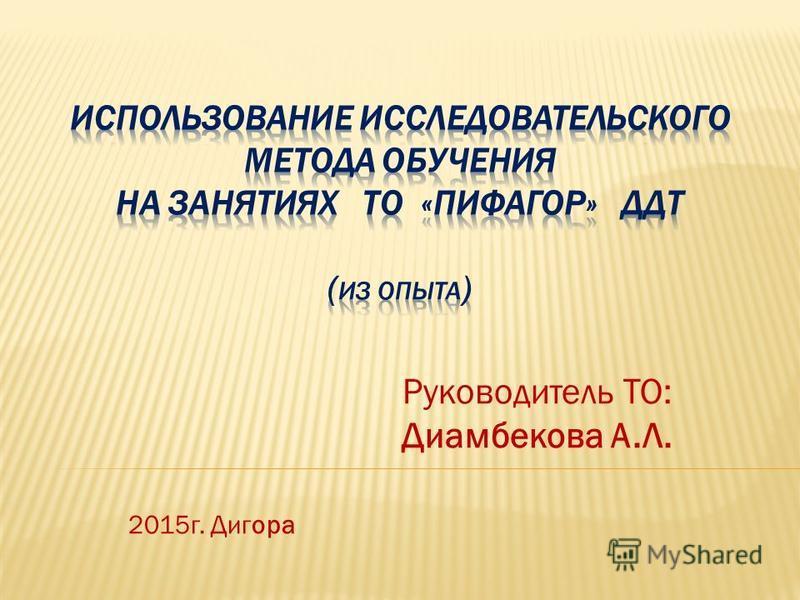 Руководитель ТО: Диамбекова А.Л. 2015 г. Дигора