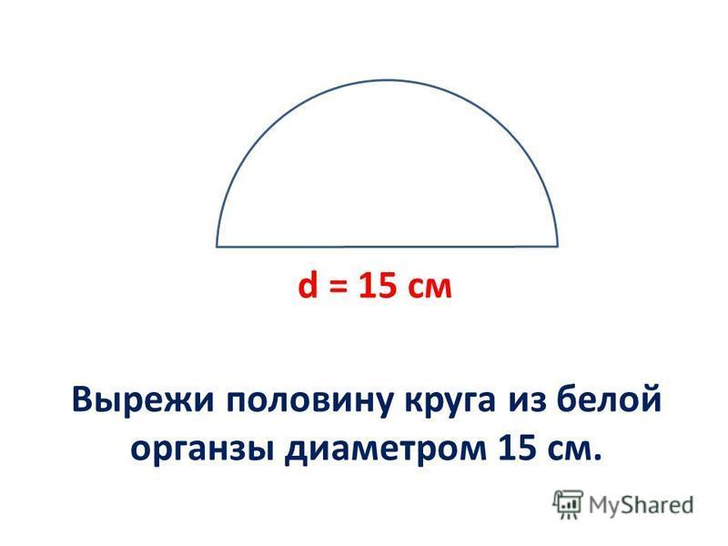 Вырежи половину круга из белой органзы диаметром 15 см. d = 15 см