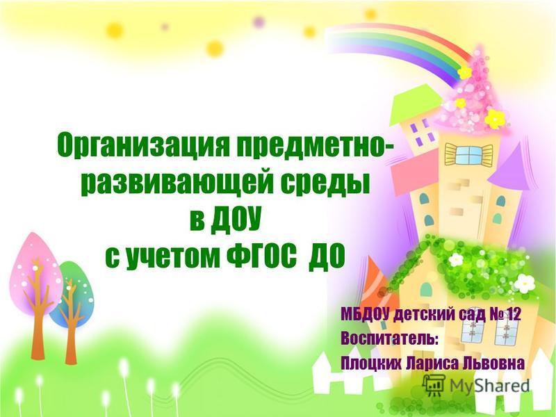Организация предметно- развивающей среды в ДОУ с учетом ФГОС ДО МБДОУ детский сад 12 Воспитатель: Плоцких Лариса Львовна