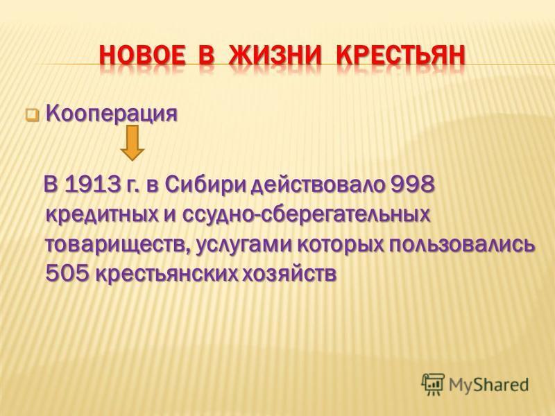 Кооперация Кооперация В 1913 г. в Сибири действовало 998 кредитных и ссудно-сберегательных товариществ, услугами которых пользовались 505 крестьянских хозяйств В 1913 г. в Сибири действовало 998 кредитных и ссудно-сберегательных товариществ, услугами